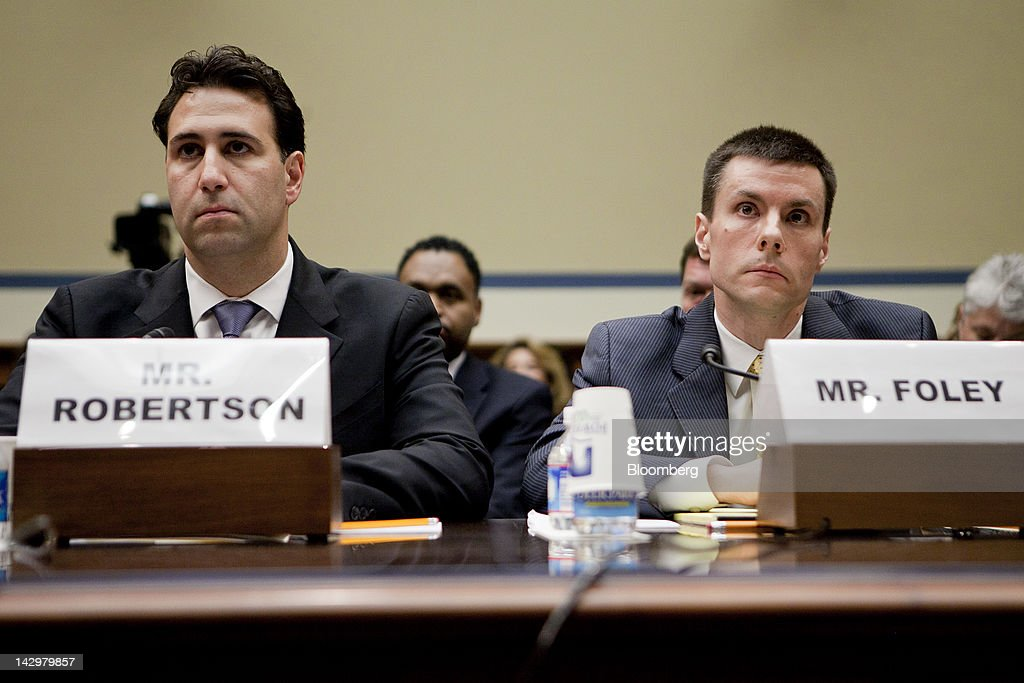 <a gi-track='captionPersonalityLinkClicked' href=/galleries/search?phrase=Michael+Robertson&family=editorial&specificpeople=234359 ng-click='$event.stopPropagation()'>Michael Robertson</a>, chief of staff with the U.S. General Services Administration, left, and David Foley, deputy commissioner of public buildings service with the GSA, listen during a House Oversight and Government Reform committee hearing in Washington, D.C., U.S., on Monday, April 16, 2012. GSA Administrator Martha Johnson resigned April 2 following an inspector general's report about spending at the 2010 conference for agency employees. The five-day event featured a professional mind reader, a clown and a $75,000 team-building exercise that involved assembling bicycles. Photographer: Andrew Harrer/Bloomberg via Getty Images