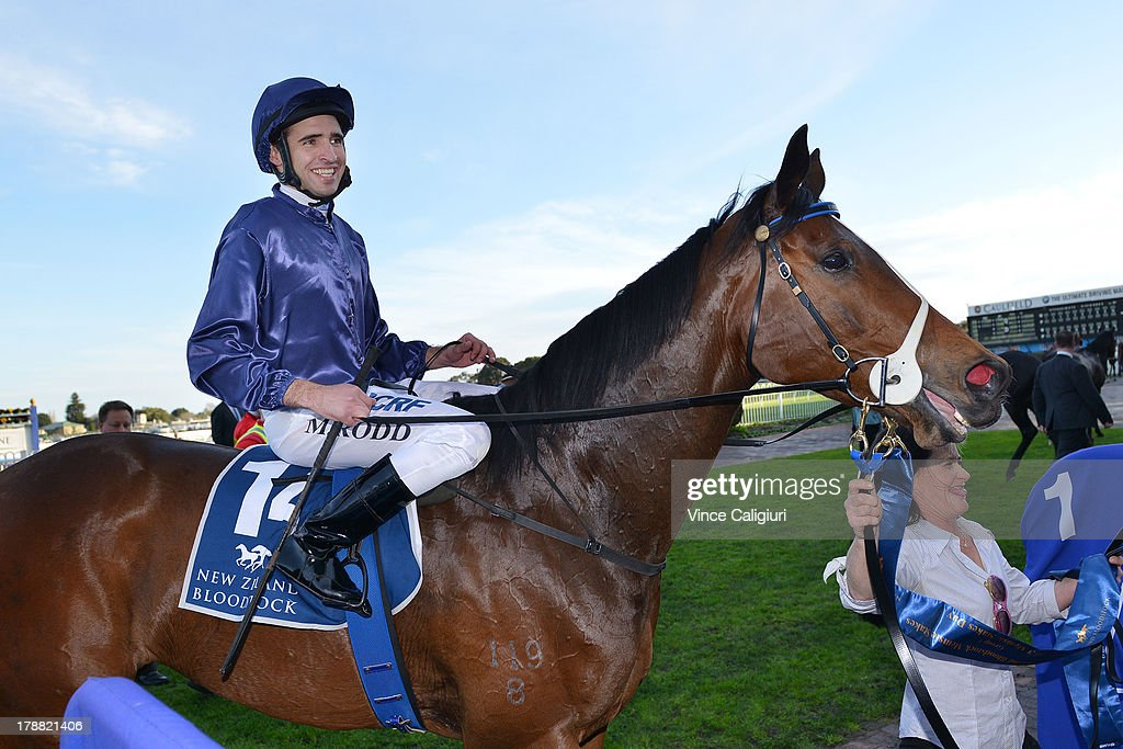 <a gi-track='captionPersonalityLinkClicked' href=/galleries/search?phrase=Michael+Rodd&family=editorial&specificpeople=850617 ng-click='$event.stopPropagation()'>Michael Rodd</a> riding Atlantic Jewel after winning the New Zealand Bloodstock Memsie Stakes during Melbourne racing at Caulfield Racecourse on August 31, 2013 in Melbourne, Australia.