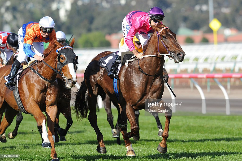 Michael Rodd riding Rich Enuff defeats Damian Brown riding Looks Like The Cat in Race 6, the Danehill Stakes during Melbourne Racing at Flemington Racecourse on September 13, 2014 in Melbourne, Australia.