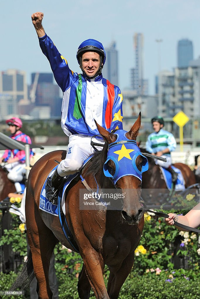 <a gi-track='captionPersonalityLinkClicked' href=/galleries/search?phrase=Michael+Rodd&family=editorial&specificpeople=850617 ng-click='$event.stopPropagation()'>Michael Rodd</a> riding Super Cool after winning the Darley Australian Cup during Super Saturday at Flemington Racecourse on March 9, 2013 in Melbourne, Australia.