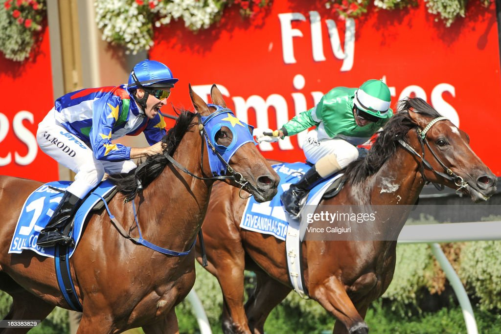Michael Rodd riding Super Cool wins from Glen Boss riding Fiveandahalfstar in the Darley Australian Cup during Super Saturday at Flemington Racecourse on March 9, 2013 in Melbourne, Australia.
