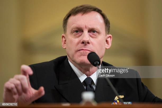 Michael Rogers Director of the National Security Agency testifies during a House Permanent Select Committee on Intelligence hearing concerning...