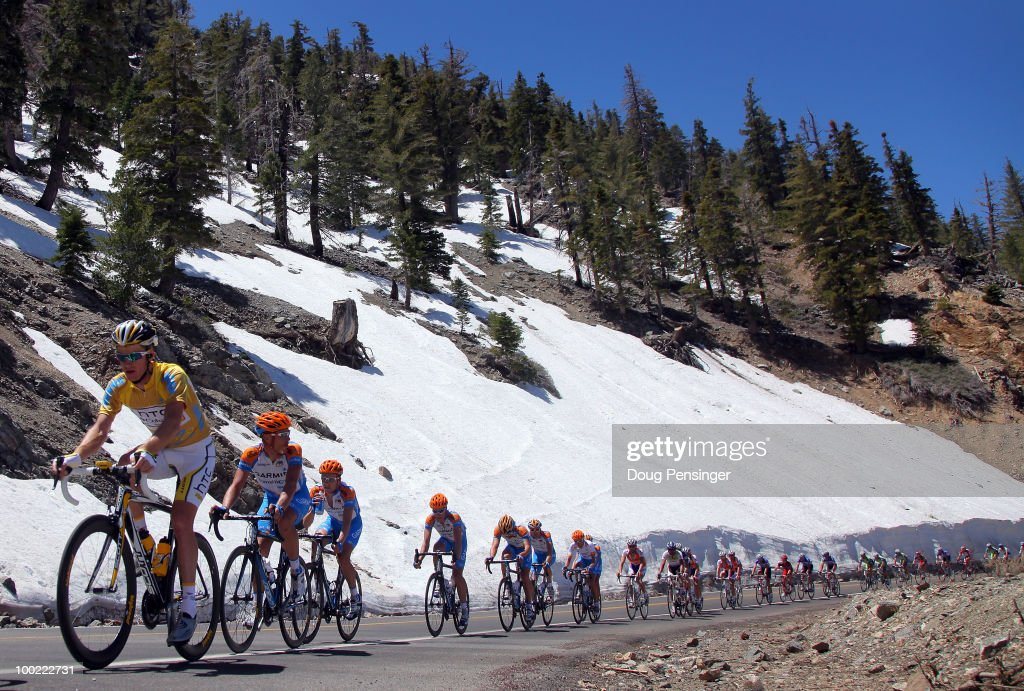 Michael Rogers (L) of Australia and riding for HTC-Columbia rides in the peloton as they climb the Angeles Crest Highway through the Los Angeles National Forest during Stage Six of the 2010 Tour of California from Palmdale to Big Bear on May 21, 2010 in Los Angeles County, California. Rogers successfully defended the race leader's jersey during the stage.