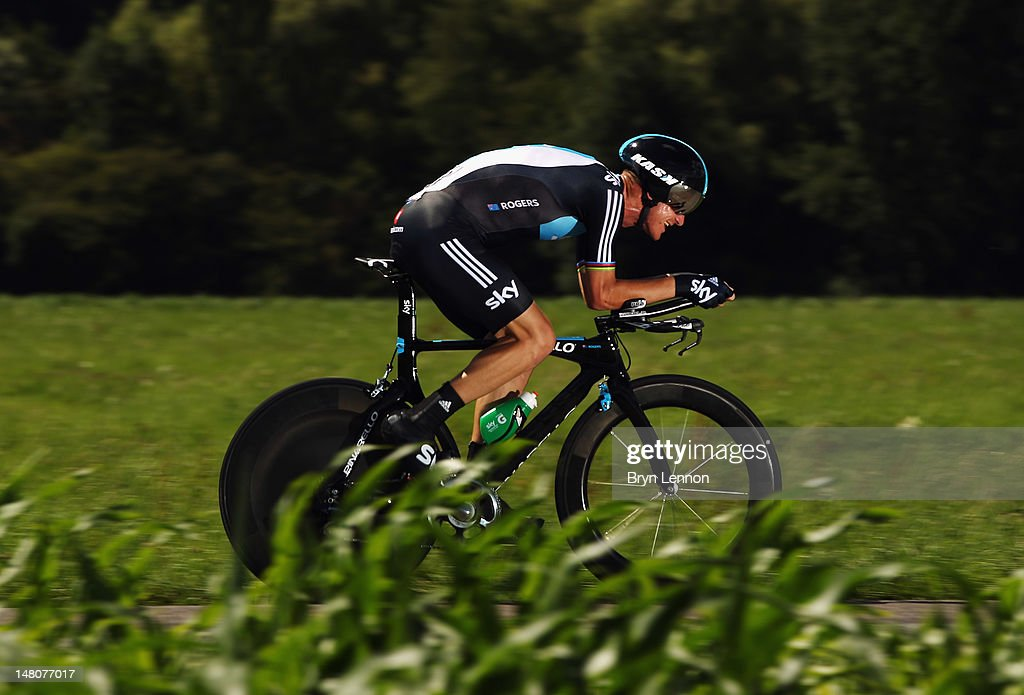 Michael Rogers of Australia and SKY Procycling in action during stage nine of the 2012 Tour de France, a 41.5km individual time trial, from Arc-et-Senans to Besancon on July 9, 2012 in Besancon, France.