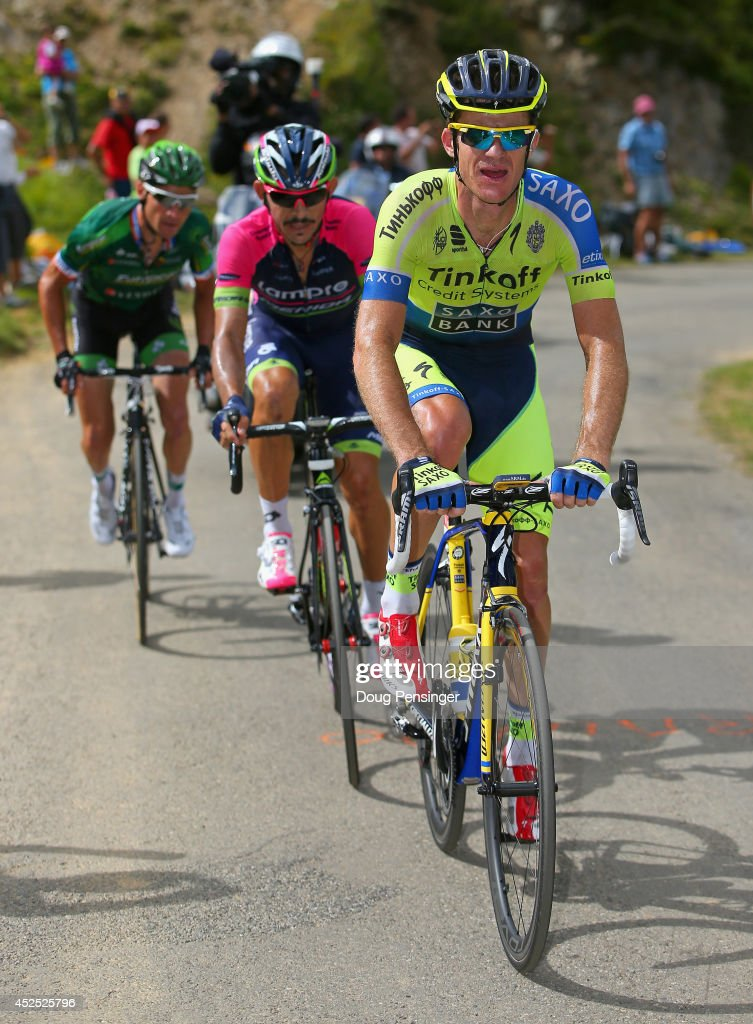 Michael Rogers of Australia and Tinkoff-Saxo leads Jose Rodolfo Serpa of Columbia and Lampre-Merida and <a gi-track='captionPersonalityLinkClicked' href=/galleries/search?phrase=Thomas+Voeckler&family=editorial&specificpeople=212948 ng-click='$event.stopPropagation()'>Thomas Voeckler</a> of France and Team Europcar on the climb of the Port de Bales as Rogers went on to win the sixteenth stage of the 2014 Tour de France, a 238km stage between Carcassonne and Bagneres-de-Luchon, on July 22, 2014 in Bourg d'Oueil, France.