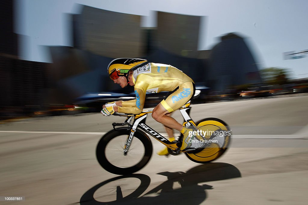Michael Rogers of Australia, riding for HTC-Columbia in the yellow leader's jersey, rides on the course during the individual time trial in stage seven of the Tour of California on May 22, 2010 in Los Angeles, California. Rogers defended his lead with a second place finish in the time trial.