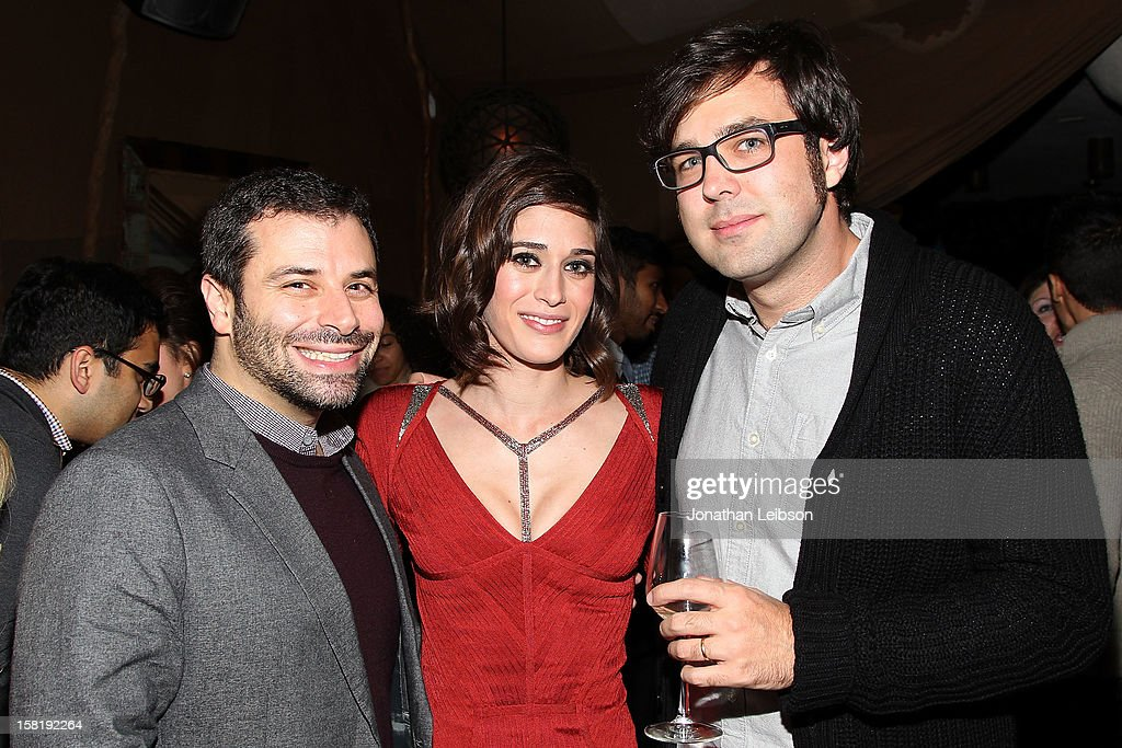 Michael Roiff, Lizzy Caplan and Michael Mohan attend the 'Save the Date' screening hosted by genart And Brancott Estate Wines Hyde Lounge on December 10, 2012 in Los Angeles, California.
