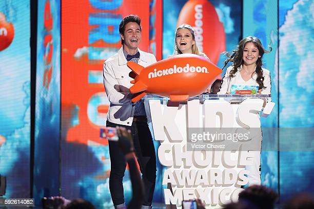 Michael Ronda Valentina Zenere and Karol Sevilla speak on stage during the Nickelodeon Kids' Choice Awards Mexico 2016 at Auditorio Nacional on...