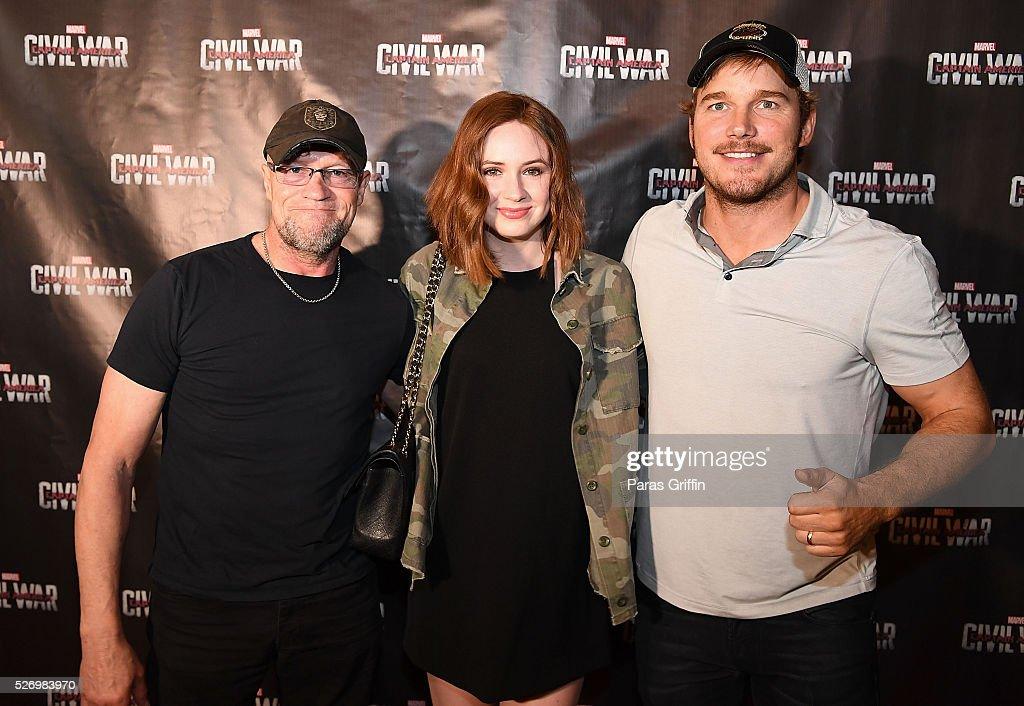 Michael Rooker, Karen Gillan, and Chris Pratt attend 'Captain America: Civil War' Atlanta Cast & Crew screening at The Fox Theatre on May 1, 2016 in Atlanta, Georgia.