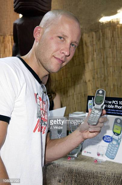 Michael Rosenbaum with Sprint and LG mobile phone during The 2002 Teen Choice Awards Backstage Creations Talent Retreat Day 2 at Universal...