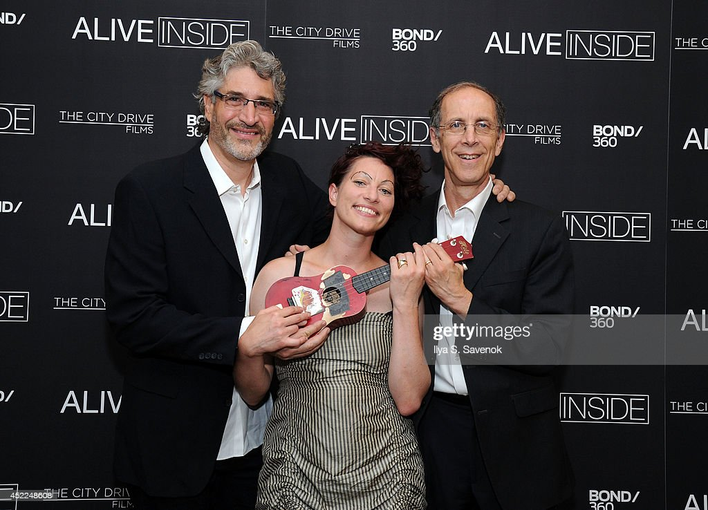 Michael Rossato-Bennett, Amanda Palmer and Dan Cohen attend the 'Alive Inside' premiere at Crosby Street Hotel on July 16, 2014 in New York City.