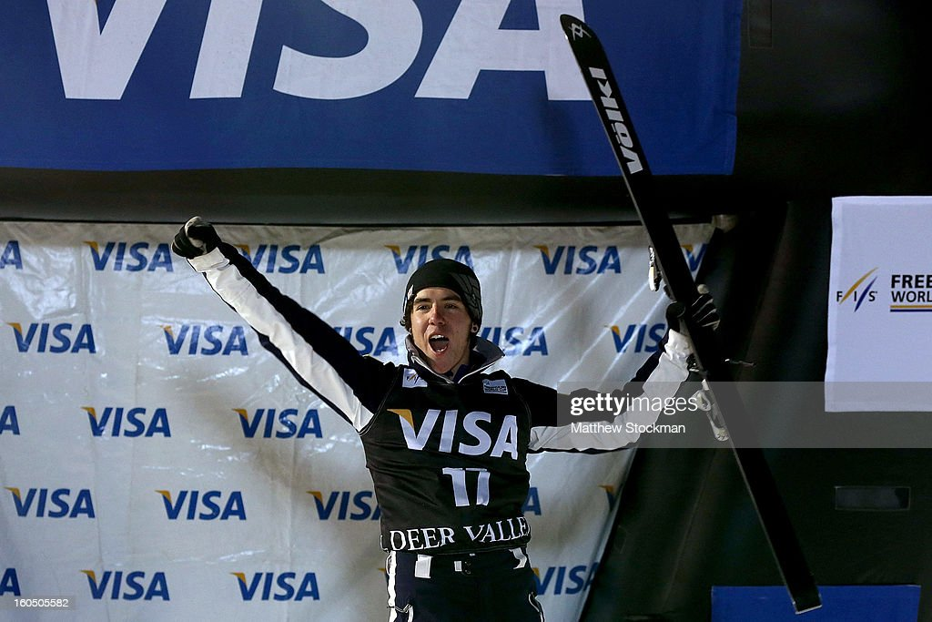 Michael Rossi #17 celebrates his third place finish in the Mens Aerials during the Visa Freestyle International at Deer Valley on February 1, 2013 in Park City, Utah.