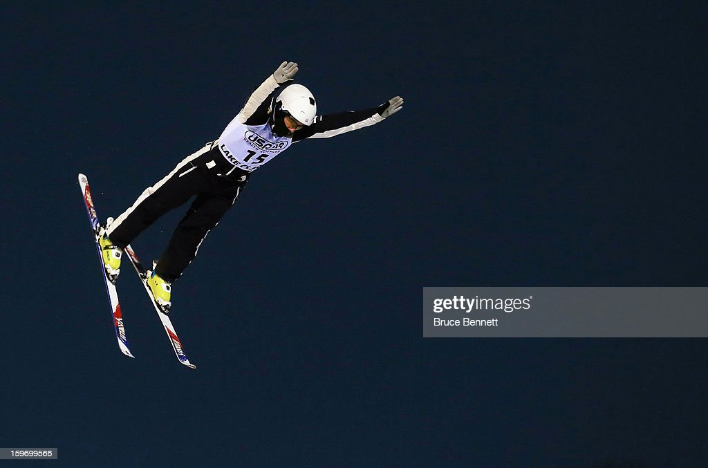 Michael Rossi #15 of the USA jumps in the USANA Freestyle World Cup aerial competition at the Lake Placid Olympic Jumping Complex on January 18, 2013 in Lake Placid, New York.