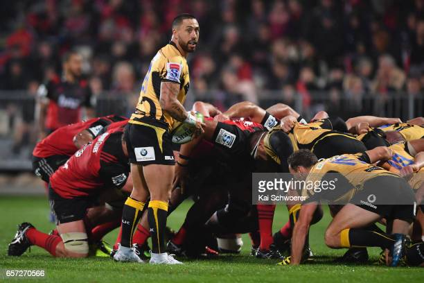 Michael Ruru of the Force looks on as the scrum packs during the round five Super Rugby match between the Crusaders and the Force at AMI Stadium on...