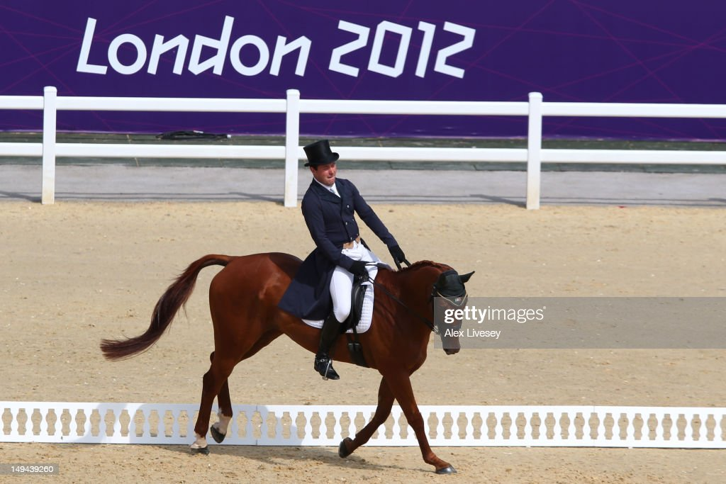 Michael Ryan of Ireland riding Ballylynch Adventure competes in the Dressage Equestrian event on Day 1 of the London 2012 Olympic Games at Greenwich Park on July 28, 2012 in London, England.