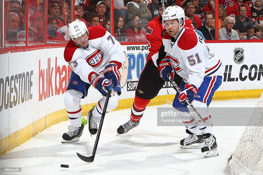 Michael Ryder #73 and David Desharnais #51 of the Montreal Canadiens skate with the puck against the Ottawa Senators in Game Three of the Eastern Conference Quarterfinals during the 2013 NHL Stanley Cup Playoffs at Scotiabank Place on May 5, 2013 in Ottawa, Ontario, Canada.