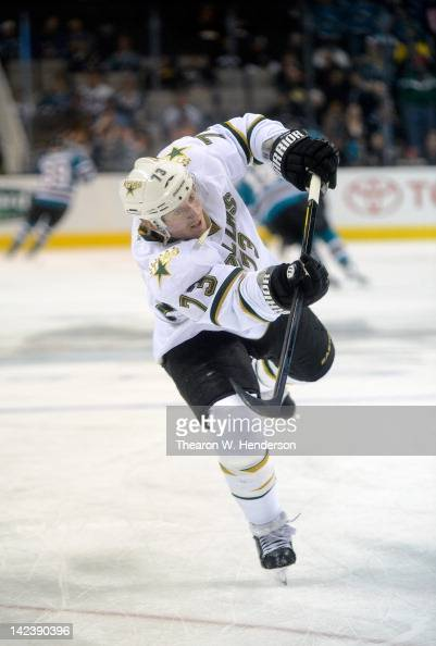 Michael Ryder of the Dallas Stars skates in warm ups before the game against the San Jose Sharks at HP Pavilion at San Jose on March 31 2012 in San...