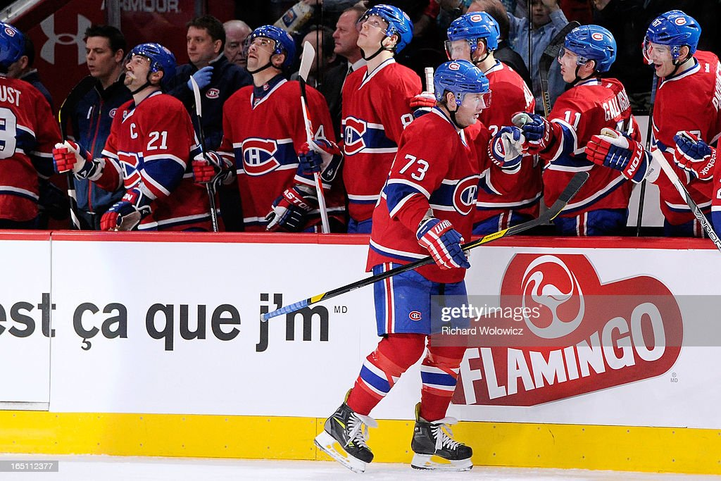 Michael Ryder #73 of the Montreal Canadiens celebrates his first period goal with teammates during the NHL game against the New York Rangers at the Bell Centre on March 30, 2013 in Montreal, Quebec, Canada.
