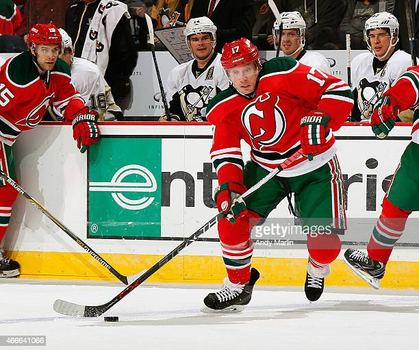Michael Ryder of the New Jersey Devils plays the puck against the Pittsburgh Penguins during the game at the Prudential Center on March 17 2015 in...