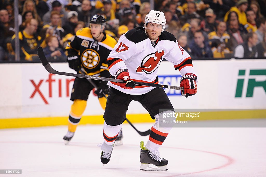 <a gi-track='captionPersonalityLinkClicked' href=/galleries/search?phrase=Michael+Ryder&family=editorial&specificpeople=208983 ng-click='$event.stopPropagation()'>Michael Ryder</a> #17 of the New Jersey Devils skates against the Boston Bruins at the TD Garden on October 26, 2013 in Boston, Massachusetts.