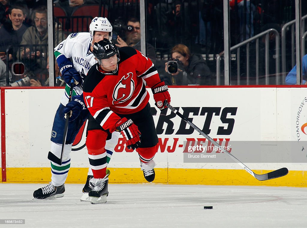 <a gi-track='captionPersonalityLinkClicked' href=/galleries/search?phrase=Michael+Ryder&family=editorial&specificpeople=208983 ng-click='$event.stopPropagation()'>Michael Ryder</a> #17 of the New Jersey Devils skates against the Vancouver Canucks at the Prudential Center on October 24, 2013 in Newark, New Jersey. The Canucks defeated the Devils 3-2 in the shootout.