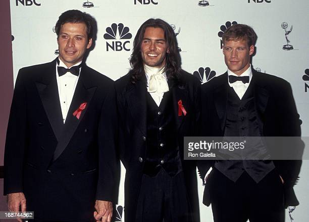 Michael Sabatino Christopher Douglas and Mark Valley attend 22nd Annual Daytime Emmy Awards on May 19 1995 at the Marriott Marquis Hotel in New York...