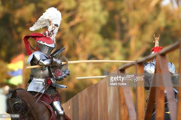 Michael Sadde of France competes in the grand final of the World Jousting Championships against Phillip Leitch of Australia on September 24 2017 in...