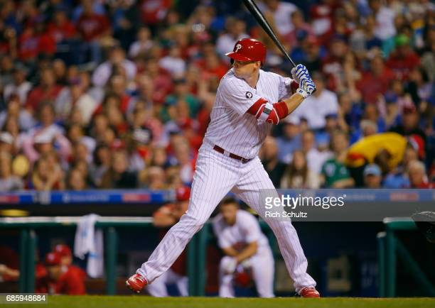 Michael Saunders of the Philadelphia Phillies in action against the New York Mets during a game at Citizens Bank Park on April 10 2017 in...