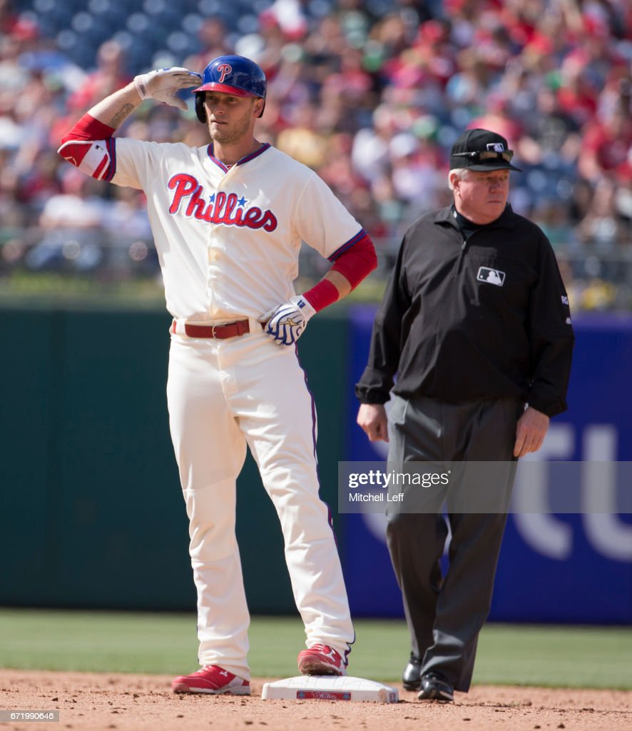 Michael Saunders #5 of the Philadelphia Phillies reacts after hitting a double in the bottom of the eighth inning against the Atlanta Braves at Citizens Bank Park on April 23, 2017 in Philadelphia, Pennsylvania. The Phillies defeated the Braves 5-2.