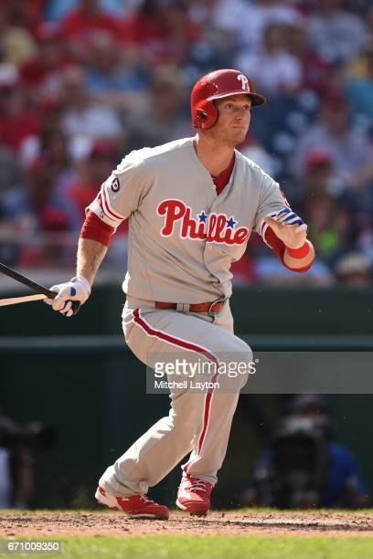 Michael Saunders of the Philadelphia Phillies takes a swing during the game against the Washington Nationals at Nationals Park on April 16 2017 in...