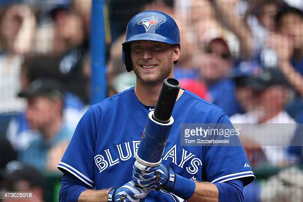 Michael Saunders of the Toronto Blue Jays gets ready to bat from the ondeck circle during MLB game action against the Boston Red Sox on May 9 2015 at...