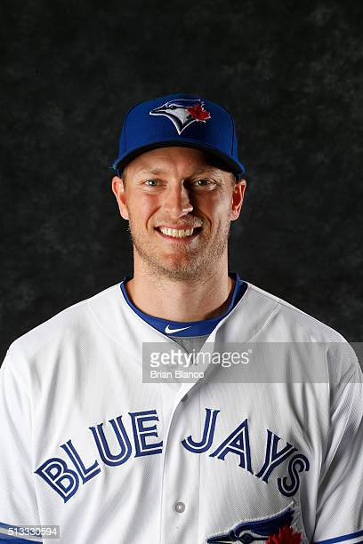Michael Saunders of the Toronto Blue Jays poses for a photo during the Blue Jays' photo day on February 27 2016 in Dunedin Florida