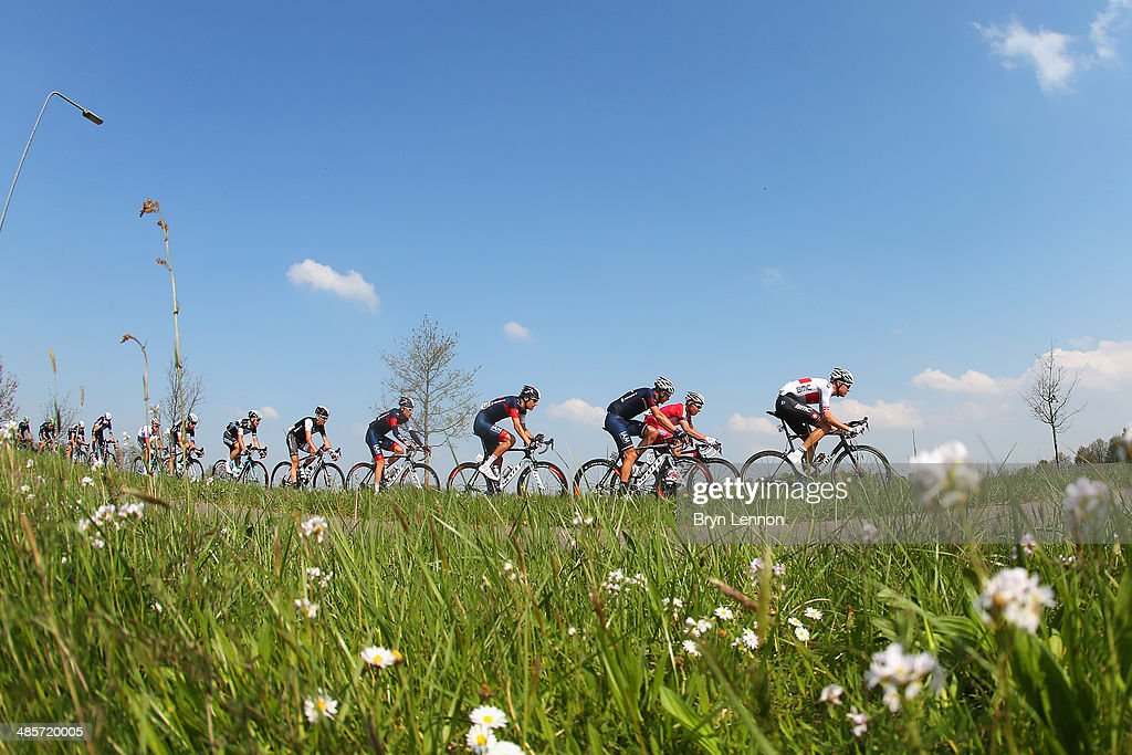 Michael Schar of Switzeland and BMC Racing Team leads the group during the 49th edition of the Amstel Gold Race on April 20, 2014 in Maastricht, Netherlands. The 251km route from Maastricht to Valkenburg, sees riders tackling 34 climbs on the way to the finish.