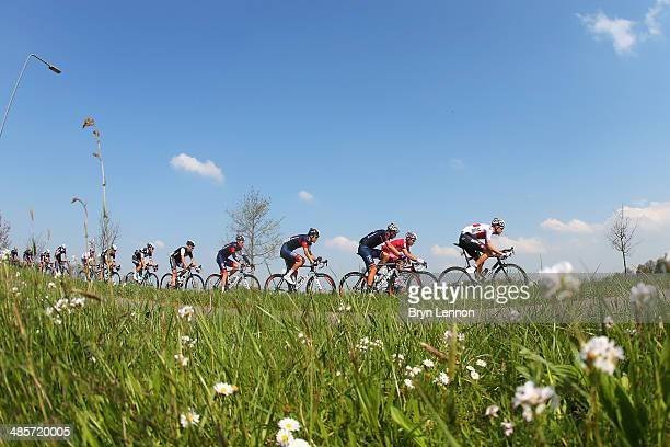 Michael Schar of Switzeland and BMC Racing Team leads the group during the 49th edition of the Amstel Gold Race on April 20 2014 in Maastricht...