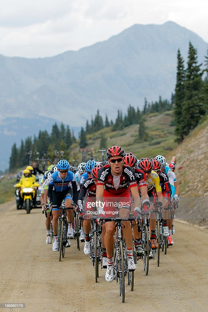 Michael Schar of Switzerland riding for BMC Racing drives the peloton on the dirt road climb of Cottonwood Pass in an attempt to defend the overall race leader's yellow jersey for Tejay Van Garderen during stage three of the USA Pro Challenge from Gunnison to Aspen on August 22, 2012 in Chaffee County, Colorado. Van Garderen lost the yellow jersey to Christian Vande Velde in the stage.