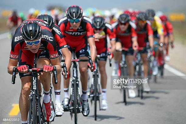 Michael Schar of Switzerland riding for BMC Racing drives the peloton during stage two of the 2015 USA Pro Challenge from Steamboat Springs to...