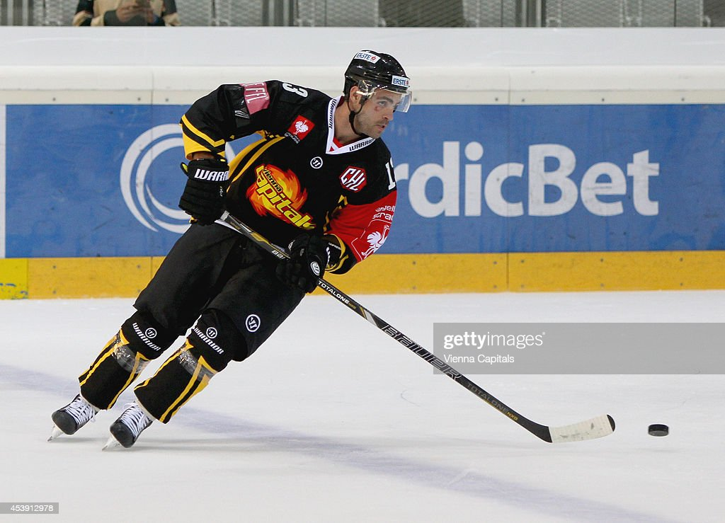 Michael Schiechl of the Capitals in action during the Champions Hockey League group stage game between Vienna Capitals and Faerjestad Karlstad on August 21, 2014 in Vienna, Austria.