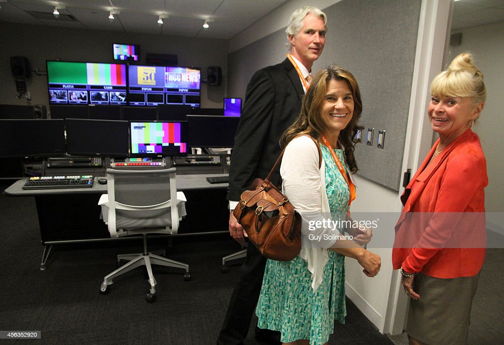 Michael Schoonmaker chair of Television Radio and Film at S I Newhouse School of Public Communication Cindy Clark and Kari Clark tour the new...