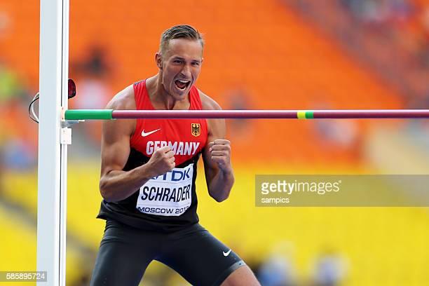 Michael Schrader GER jubelt nach dem Hochspringen Zehnkampf Decathlon men Männer Leichtathletik WM Weltmeisterschaft Moskau 2013 IAAF World...