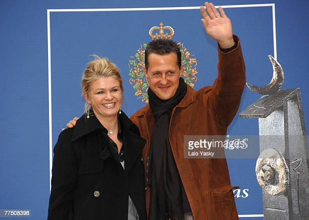 Michael Schumacher and his wife Corinne arrive at the Reconquista Hotel on October 26 2007 in Oviedo Spain