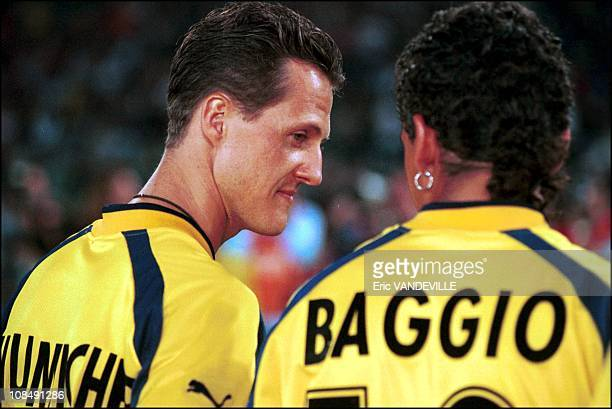 Michael Schumacher and Roberto Baggio in Rome Italy on May 25th 2000