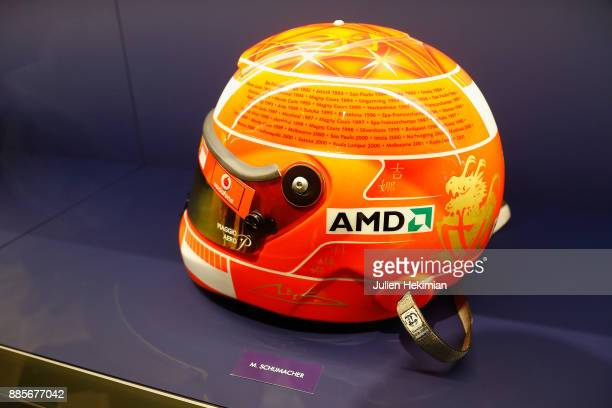 Michael Schumacher helmet pictured during the FIA Hall of Fame Induction ceremony at Automobile Club De France on December 4 2017 in Paris France
