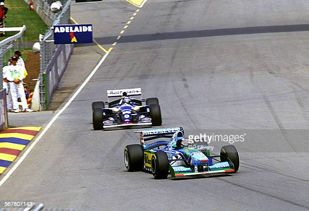 Michael Schumacher in a Benetton B194 and Damon Hill in a Williams before their collision left Schumacher World Champion and denied Hill the title...