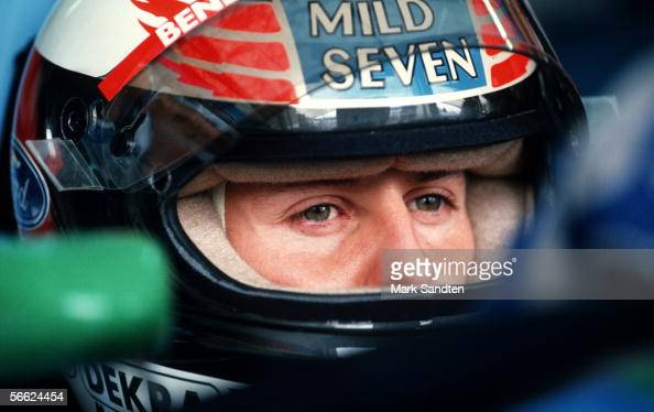 Michael Schumacher of Germany and Benetton looks on during the training session for the European F1 Grand Prix on Oktober 16 1994 in Jerez Spain