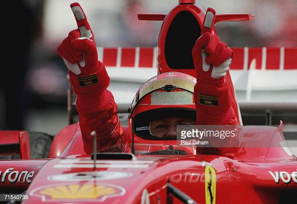 Michael Schumacher of Germany and Ferrari celebrates winning the German Formula One Grand Prix at the Hockenheimring on July 30 2006 in Hockenheim...