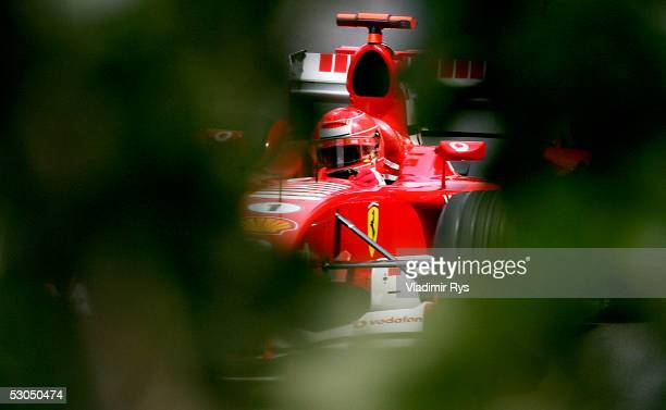 Michael Schumacher of Germany and Ferrari drives during practice for the Canadian F1 Grand Prix on June 10 2005 in Montreal Canada