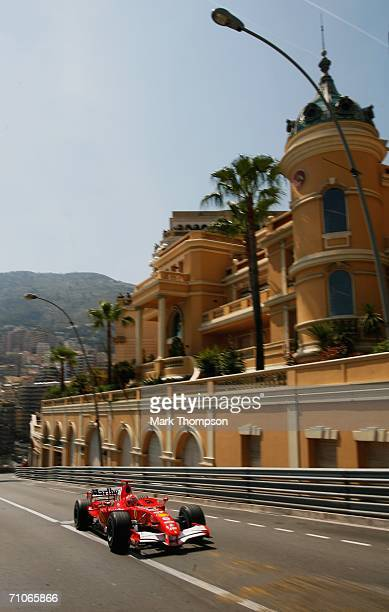 Michael Schumacher of Germany and Ferrari during qualifying for the Monaco Formula One Grand Prix at the Monte Carlo Circuit on May 27 in Monte Carlo...