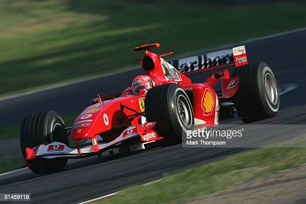 Michael Schumacher of Germany and Ferrari in action during the Formula One Japanese Grand Prix at Suzuka Circuit on October 10 2004 in Suzuka Japan