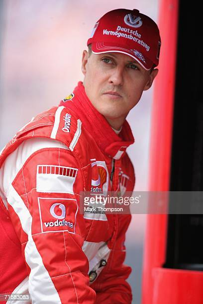 Michael Schumacher of Germany and Ferrari in the pits during first practice for the Hungarian Formula One Grand Prix at the Hungaroring on August 4...
