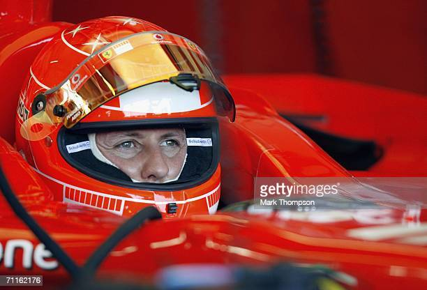 Michael Schumacher of Germany and Ferrari in the pits during practice for the F1 British Grand Prix at Silverstone on June 9 in Silverstone England